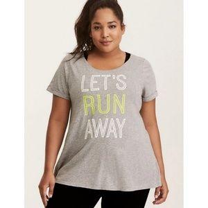Torrid Active Grey Let's Run Away Tshirt